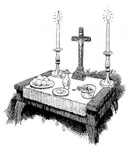 Le sacrement des malades expliqué aux enfants - Table préparée pour l'extrême-onction et le viatique