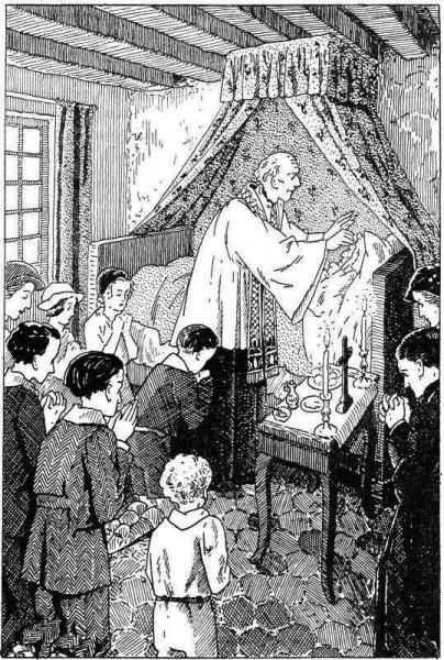 Monsieur le curé donne  le sacrement des malades à la vielle Brigitte mourante