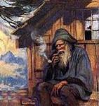 image, catéchisme - GrandPere devant son chalet