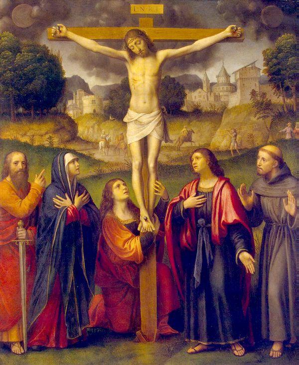 histoire de la Mort du Christ - Crucifixion avec Saint Paul et Saint François - Luini Bernardino