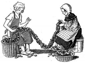 Sacrement de l'ordre - Fillettes préparant des guirlandes de fleurs pour l'ordination d'Yvon