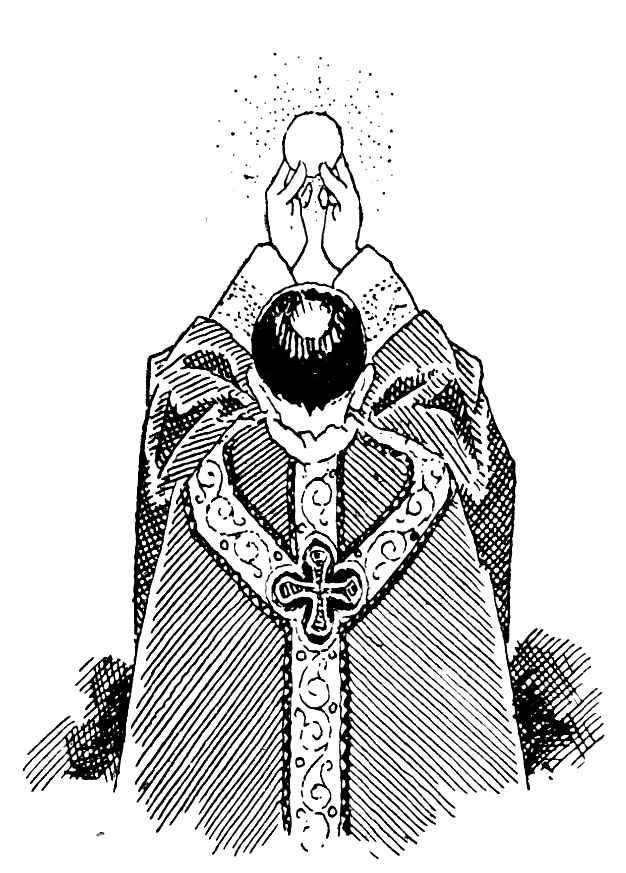 Explication pour les enfants : Élévation de l'Hostie par le prêtre durant la messe