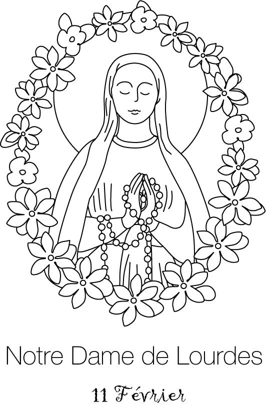 Coloriage Notre-Dame de Lourdes