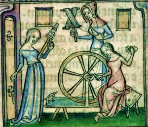 Faire son devoir d'état, comme Sainte Jeanne d'Arc - Enluminure Quenouille et Filage