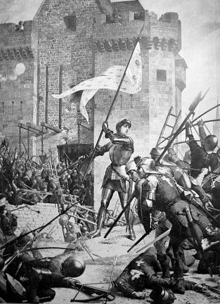 Jeanne d'Arc et son étendard dans la bataille par Leneveu