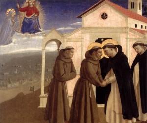 Rencontre de saint François et de saint Dominique, gloires de Bologne
