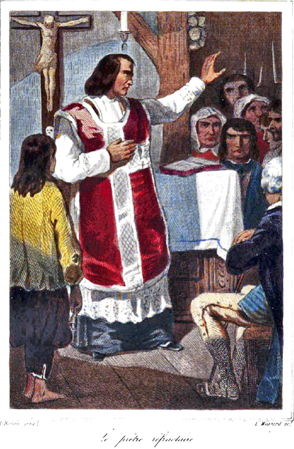 Prêtre réfractaire célébrant la messe en cachette