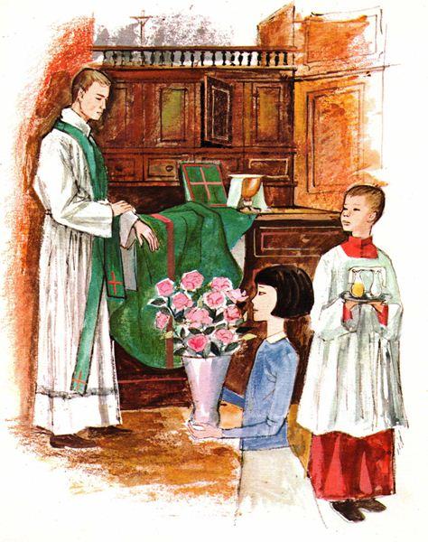 Prêtre s'habillant à la Sacristie pour la messe, avec son enfant de choeur