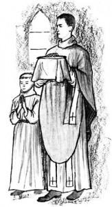 Coloriage - Prêtre sortant de la sacristie avec l'enfant de Choeur