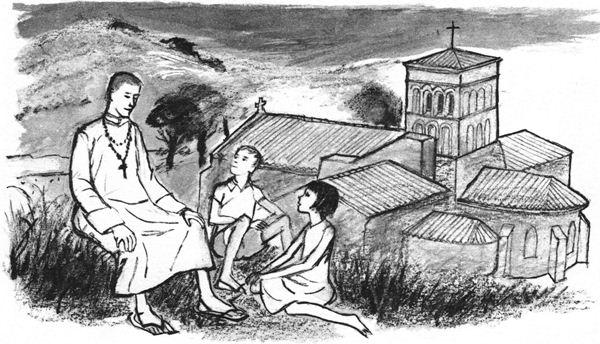 S'instruire pendant les vacances : Le père donne les explications de la messe aux enfants