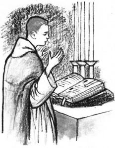 Coloriage de la messe - Célabrant et la lecture de l'oraison