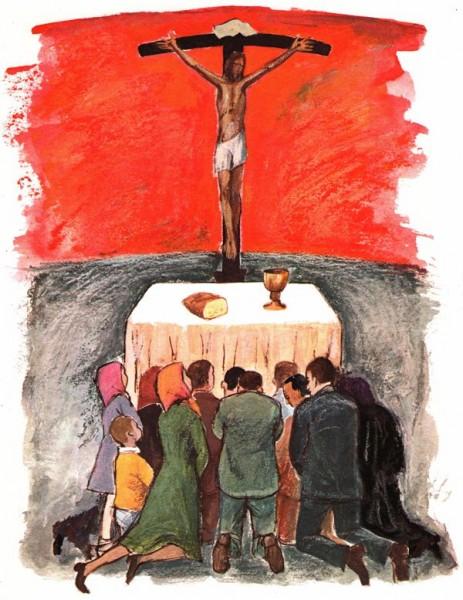 Rassemblement du peuple de Dieu - Fidèles adorant le Christ a la messe