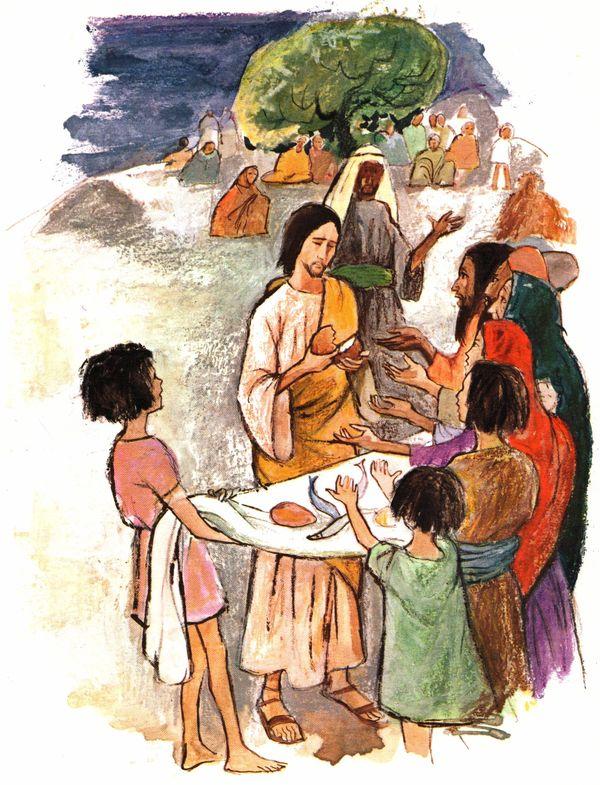 récit de la messe pour les enfants - Jesus et la multiplication des pains