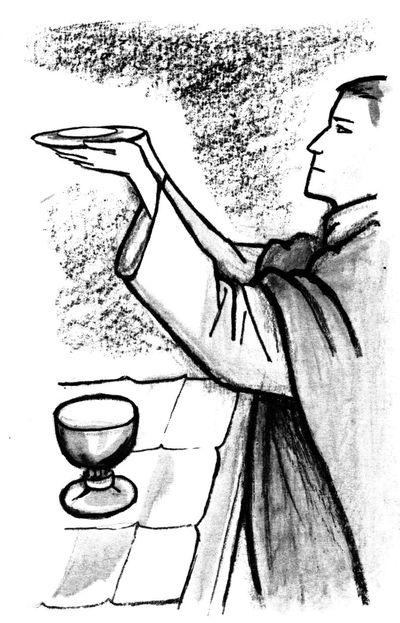 L'eucharistie - Offrande du pain et du vin - coloriage de l'offertoire