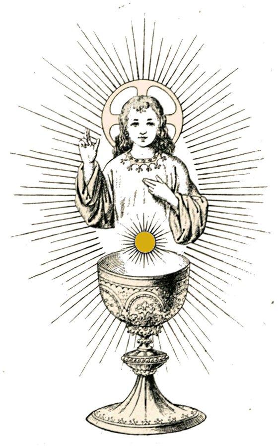 Gravure à Colorier Enfant-Jésus Eucharistie