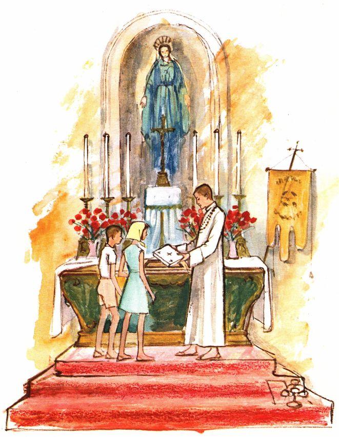 Les enfants suivent les explications du pretre - Pierre d'autel contenant les reliques