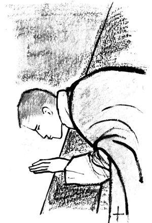Coloriage de la messe : Durant la messe, le prêtre embrasse l'autel