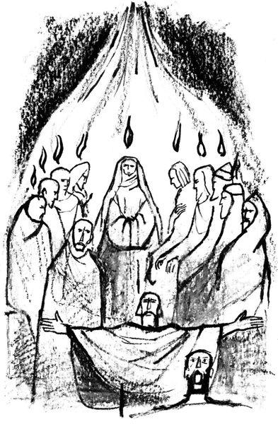 Coloriage pour le caté - La Pentecôte