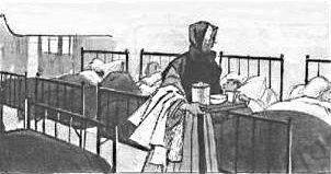 Soeur infirmière à l'hopital soignant les soldats blessés