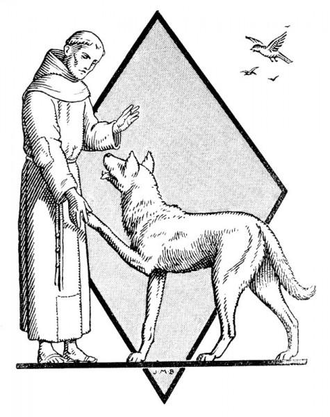 Gravue à colorier : Saint François et le loup
