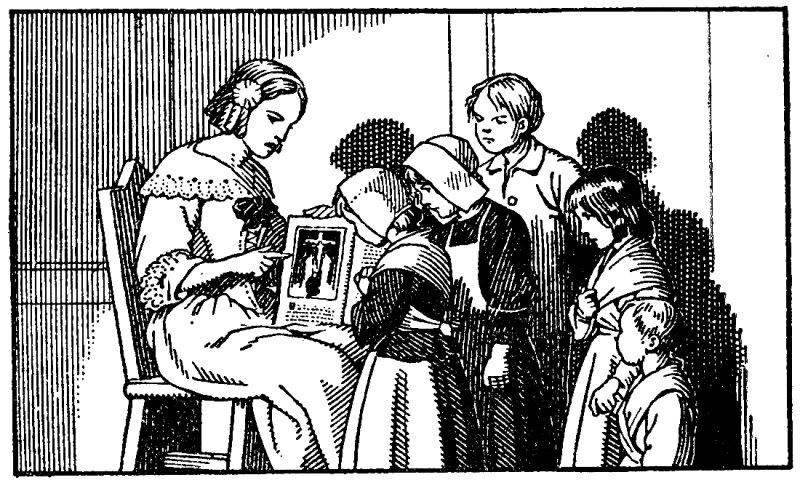 Marguerite-Marie instruit les enfants des paysans. Coloriage
