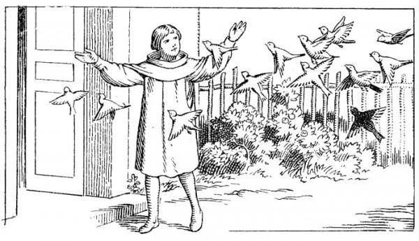Coloriage Saint Antoine de Padoue enfant - Ferdinand et les oiseaux