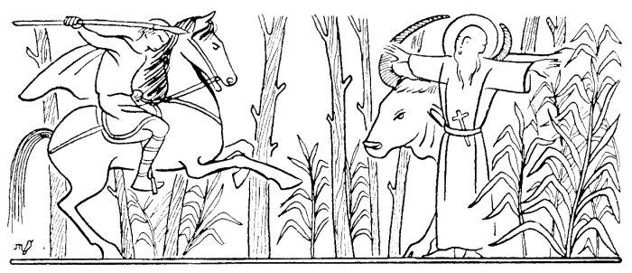 Coloriage des animaux et des saints : Saint Calais et son buffle