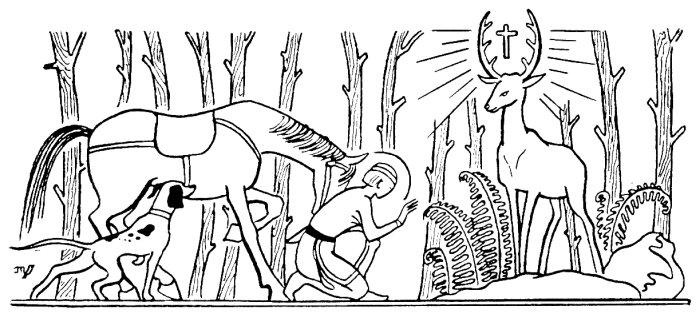 Saint Hubert et la croix miraculeuse dans les ramures du cerf