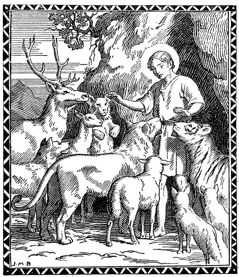 Coloriage de Saint Mammès entouré des animaux sauvages