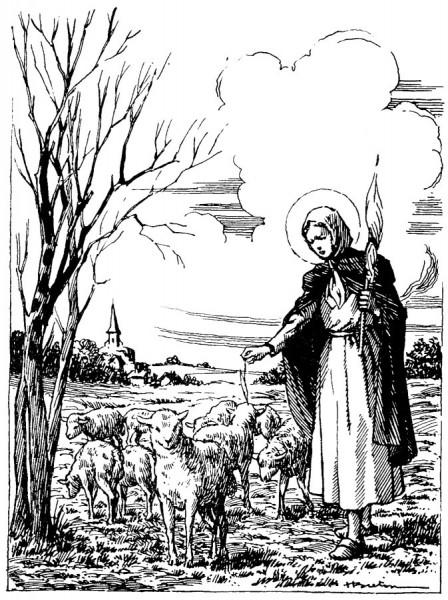 Coloriage de Sainte Germaine de Pibrac et ses moutons