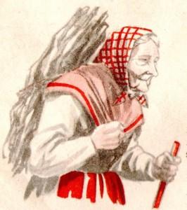 Grand-mère racontant l'histoire de la Salette aux enfants
