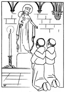 Coloriage Le Chapelet des enfants à Marie