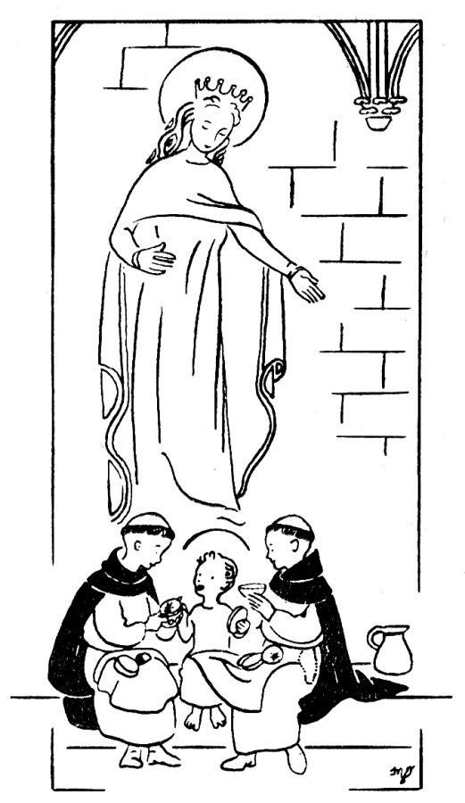Jésus mange avec les moinillons - Coloriage pour la catéchèse