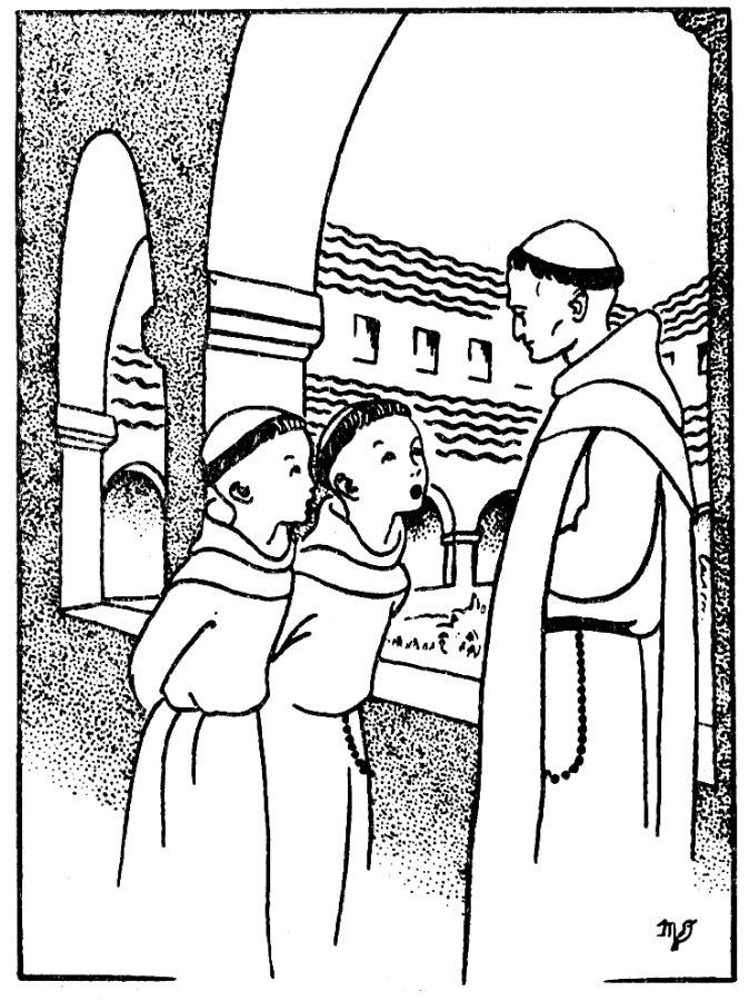 Cloître du monastère à colorier - Les garçons interrogent le moine