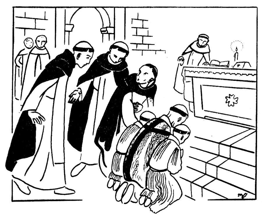Gravure : Première communion et action de grâce au monastère