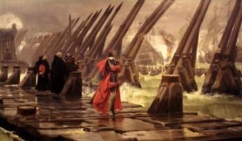 Richelieu sur les fortifications du siège de La Rochelle