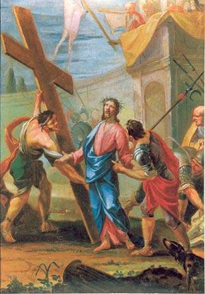 Chemin de Croix pour les jeunes - 2ème station, Jésus est chargé de la Croix
