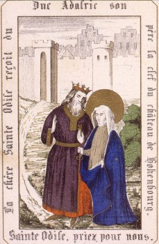 Adalric reçoit Sainte Odile - Vie de sainte Odile, patronne de l'Alsace