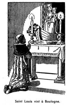 Le roi Saint Louis priant Notre-Dame de Boulogne - coloriage de Marie