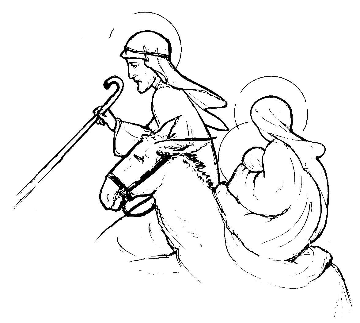 Coloriage Sainte Famille.Fuite En Egypte Joseph Emmene La Sainte Famille Et Maintenant
