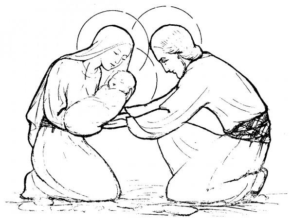 Noël - Saint Joseph accueille Jésus à la crêche - coloriage de la sainte famille