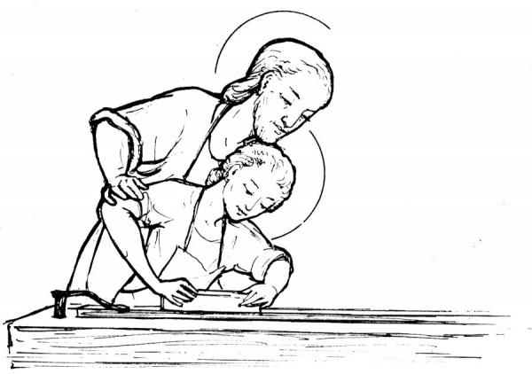coloriage pour les petits - Saint Joseph charpentier et Jésus rabotant