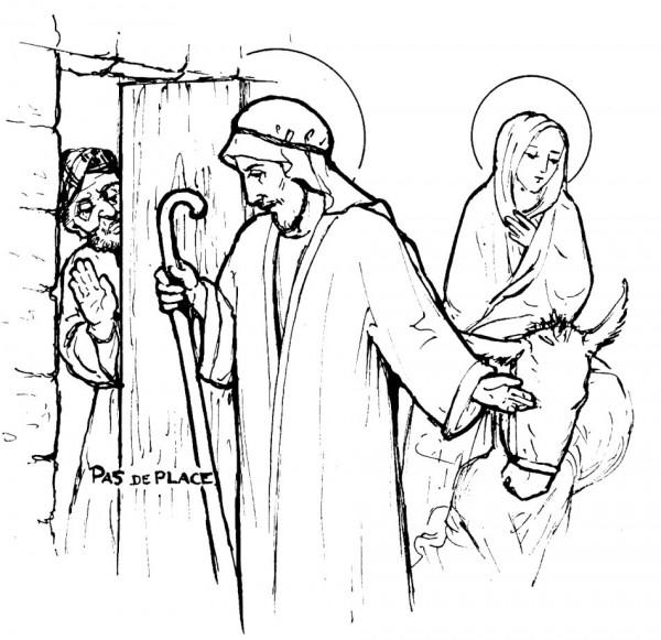 Dessin à colorier - Pas de place - Joseph et Marie refusés