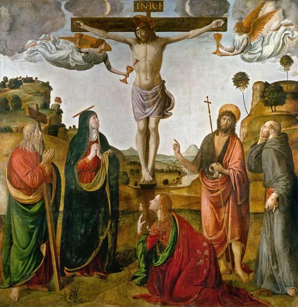 Rossetti - Crucifixion du Christ avec Marie