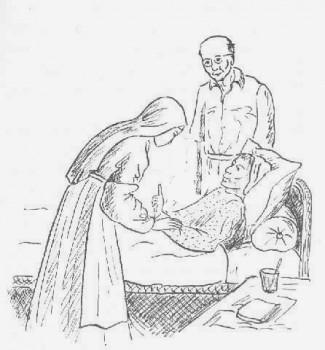 Coloriage d'une religieuse s'occupant d'une malade