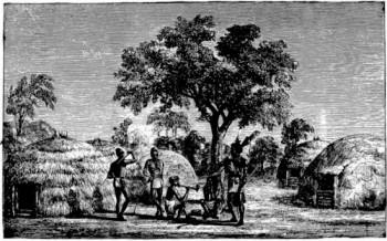 village africain et ses cases - Récit pour les jeunes du caté : le sacrement du baptème