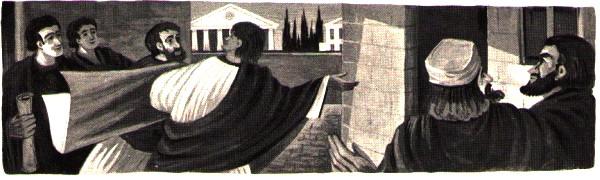 Les disciples Timothée, Marc, Aristarque, Tychique visitent Saint Paul à Rome
