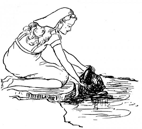 Coloriage pour les mômes : Sainte Reine lavant son linge