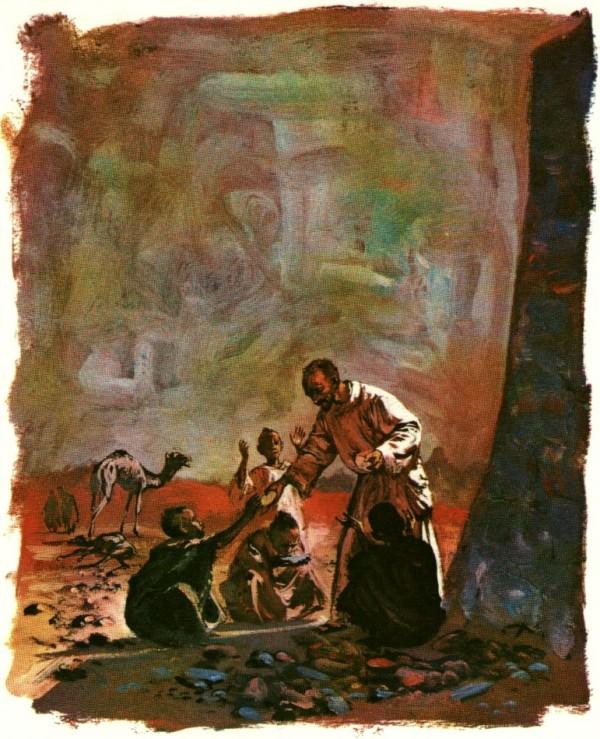 Le père de Foucauld aide les enfants pauvres