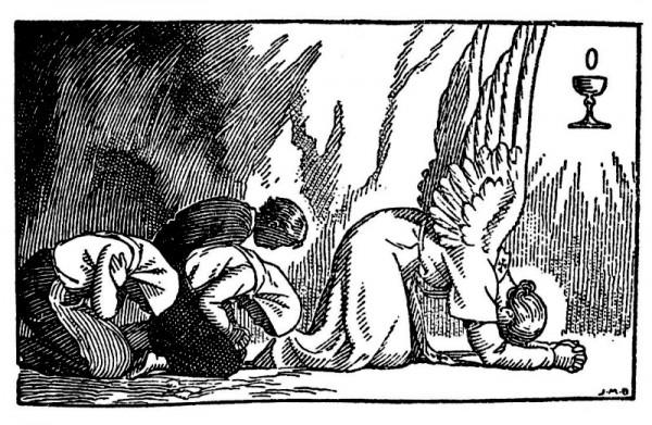 L'ange agenouillé, le front penché jusqu'à terre.